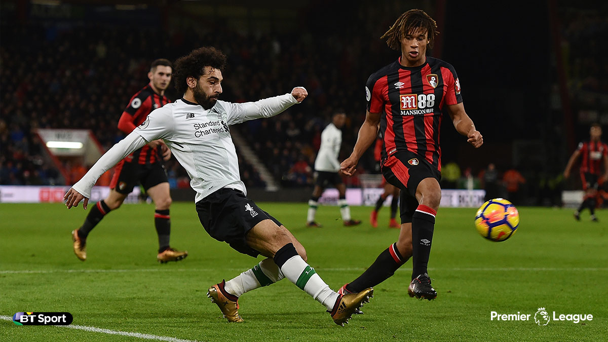 Mohamed Salah playing for Liverpool against Bournemouth