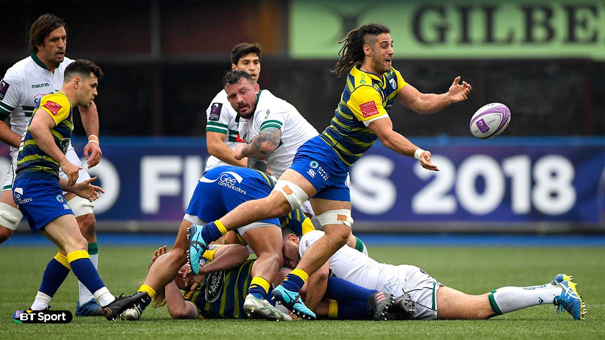 Josh Navidi playing for Cardiff Blues