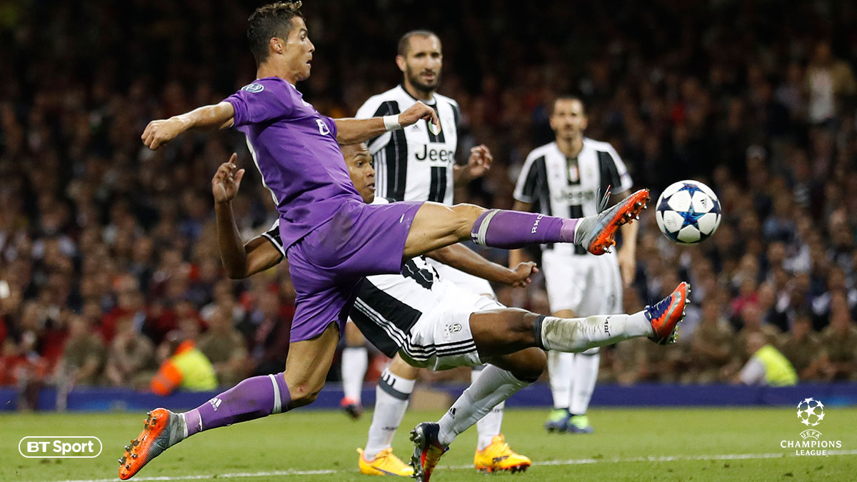 Cristiano Ronaldo playing for Real Madrid against Juventus
