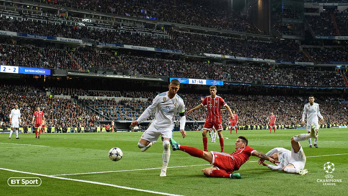 Real Madrid versus Bayern Munich in the UEFA Champions League