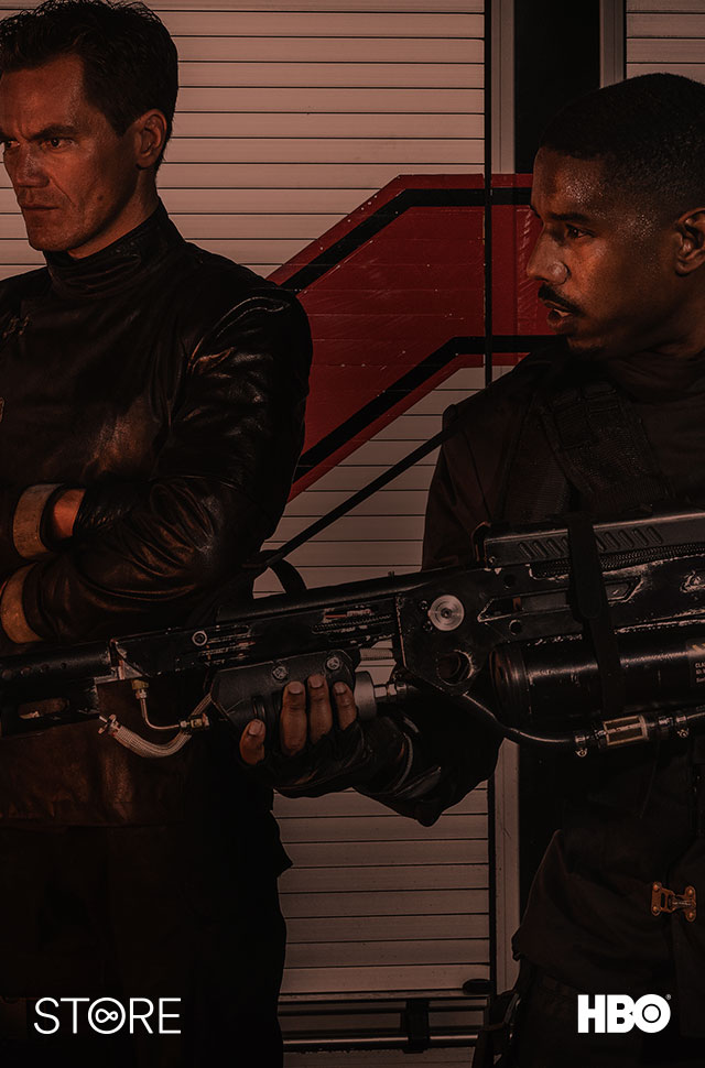 Michael Shannon and Michael B. Jordan in Fahrenheit 451