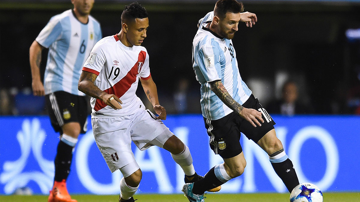 Lionel Messi playing for Argentina against Peru