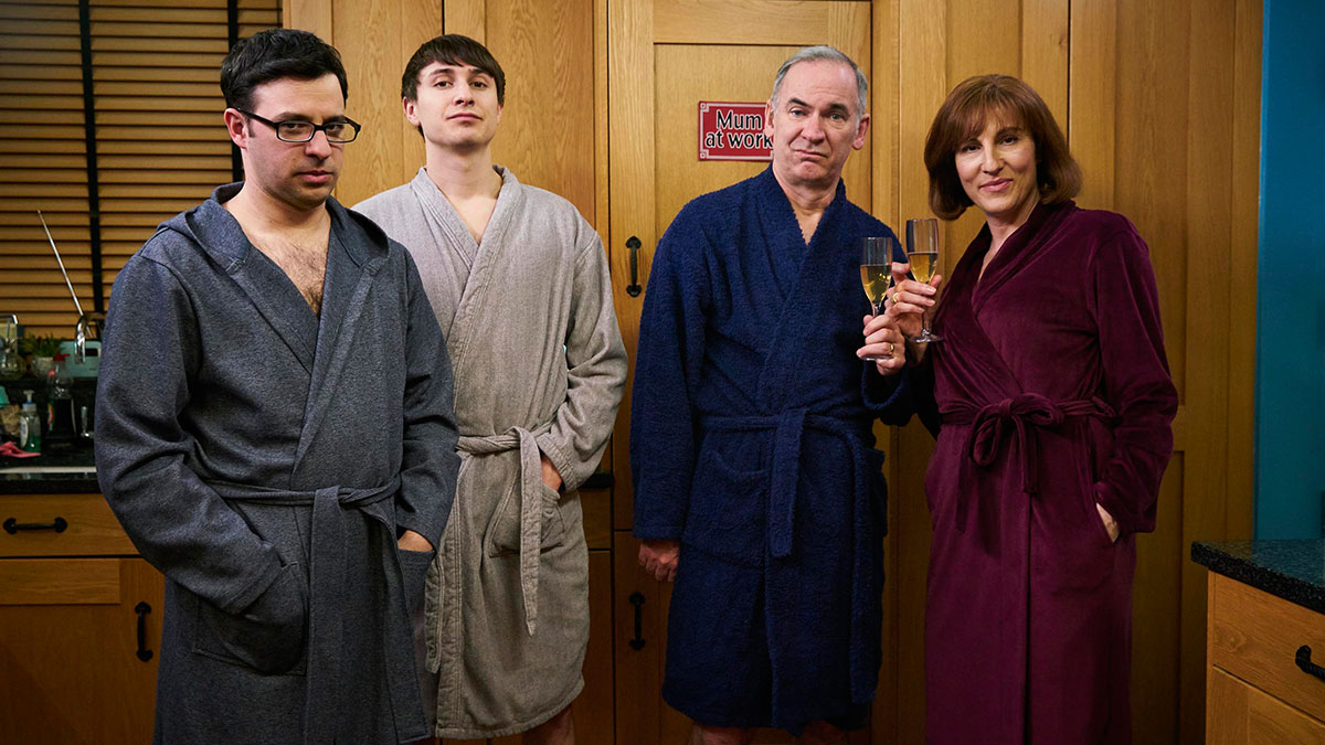 Simon Bird, Tom Rosenthal, Paul Ritter and Tamsin Greig in Friday Night Dinner