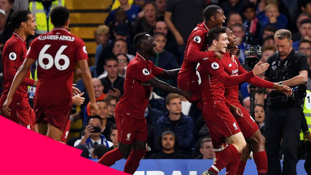 Daniel Sturridge and his Liverpool teammates celebrating after his equaliser in their 1-1 draw with Chelsea at Stamford Bridge
