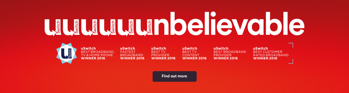 Voted best for TV and Broadband by uSwitch!