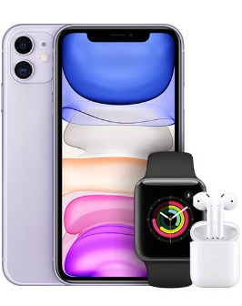 iPhone 11 Purple with Apple Watch and Airpods