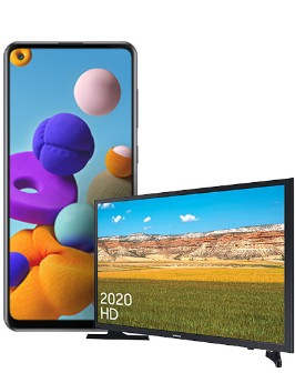 Samsung Galaxy A21s Black and Samsung 32 inch TV