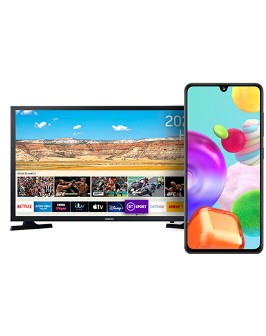 Samsung Galaxy A41 Black front and Samsung 32 inch TV