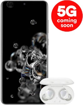 Samsung Galaxy S20 Ultra 5G Cosmic Grey and Galaxy Buds+
